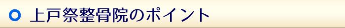 上戸祭整骨院のポイント